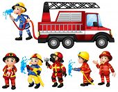 Illustration of a set of firefighters