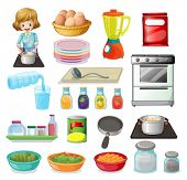 Illustration of a set of food and kitchenware