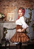Beautiful Steampunk Woman Posing