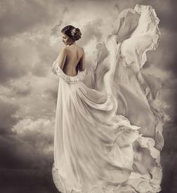 image of flutter  - women portrait in retro dress - JPG
