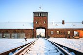 Main Gate To Nazi Concentration Camp Of Auschwitz Birkenau.