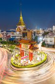 The Gateway Arch Odeon Circle and Wat trimitre, Golden Buddha Temple, Landmark of Chinatown Bangkok Thailand