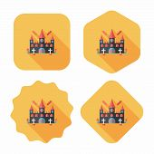 Halloween Castle Flat Icon With Long Shadow,eps10