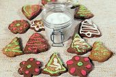 stock photo of pecan tree  - Various homemade gingerbread on tablecloth ready to eat - JPG