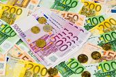 many different euro bills. photo icon for wealth and investment.