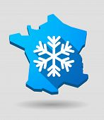 France Map Icon With A Snow Flake
