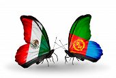 image of eritrea  - Two butterflies with flags on wings as symbol of relations Mexico and Eritrea - JPG
