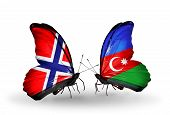 Two Butterflies With Flags On Wings As Symbol Of Relations Norway And  Azerbaijan