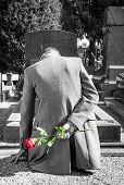 Man on the grave