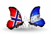 Two Butterflies With Flags On Wings As Symbol Of Relations Norway And Honduras