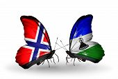 Two Butterflies With Flags On Wings As Symbol Of Relations Norway And Lesotho