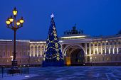 pic of winter palace  - panorama of St. Petersburg, winter city, the Palace square, the dawn in St. Petersburg, Christmas tree