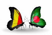 Two Butterflies With Flags On Wings As Symbol Of Relations Belgium And Bangladesh