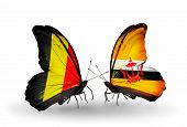 Two Butterflies With Flags On Wings As Symbol Of Relations Belgium And Brunei