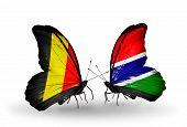 Two Butterflies With Flags On Wings As Symbol Of Relations Belgium And Gambia