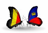 Two Butterflies With Flags On Wings As Symbol Of Relations Belgium And Liechtenstein