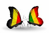 Two Butterflies With Flags On Wings As Symbol Of Relations Belgium And  Mali