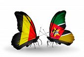 Two Butterflies With Flags On Wings As Symbol Of Relations Belgium And Mozambique
