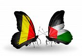 Two Butterflies With Flags On Wings As Symbol Of Relations Belgium And  Palestine