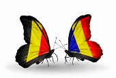 Two Butterflies With Flags On Wings As Symbol Of Relations Belgium And Chad, Romania