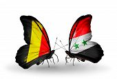 Two Butterflies With Flags On Wings As Symbol Of Relations Belgium And Syria