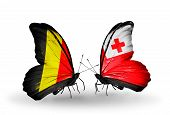 Two Butterflies With Flags On Wings As Symbol Of Relations Belgium And Tonga