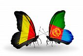 stock photo of eritrea  - Two butterflies with flags on wings as symbol of relations Belgium and Eritrea - JPG