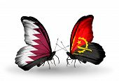 Two Butterflies With Flags On Wings As Symbol Of Relations Qatar And Angola