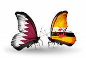 Two Butterflies With Flags On Wings As Symbol Of Relations Qatar And Brunei
