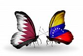 Two Butterflies With Flags On Wings As Symbol Of Relations Qatar And Venezuela
