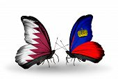 Two Butterflies With Flags On Wings As Symbol Of Relations Qatar And Liechtenstein