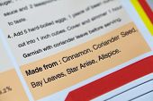 Food ingredients label on plastic food packaging