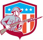 image of world war one  - Illustration of a World War One American soldier serviceman with assault rifle fixed bayonet viewed from side set inside shield with American Stars and stripes flag on isolated white background done in retro style - JPG