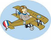 picture of fighter plane  - Illustration of a British airforce world war one pilot flying a Sopwith Camel Scout which is a single - JPG