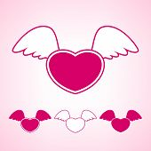 Heart With Wings, Vector Illustration