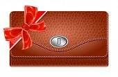 Wallet with gift red bow. Vector illustration.
