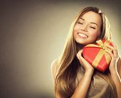 picture of shapes  - Beauty happy girl with Valentine Gift box - JPG