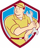 Mechanic Hold Spanner Wrench Shield Cartoon