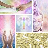 stock photo of initials  - Five images showing different aspects of holistic healing including healing hands - JPG