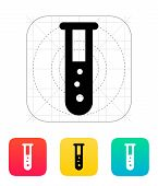 Test tube with bubbles icon. Vector illustration.