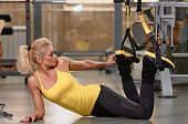 Fitness training exercises at gym woman