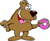 Cartoon bear eating a doughnut.