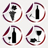 Vintage Wine Icons On Round Stickers With Curved Corner