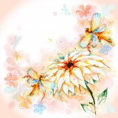 Spring Background with Flying Dragonfly and Lily Flower