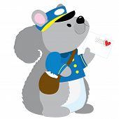 stock photo of postman  - A cute little squirrel dressed like a postman is delivering a letter with a heart stamp - JPG