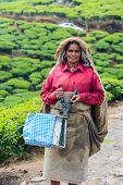 Munnar, India - February 18, 2013: An Unidentified Indian Woman Standing And Showing Scissors For Ha