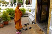 Buddhist Monk Entering Temple