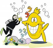 Underwater photograph cartoon