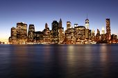Twilight As The Sun Sets Over Lower Manhattan. Famous New York Landmarks