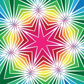 picture of septagram  - Geometric seven sided star design with radiating lines and bright colours - JPG